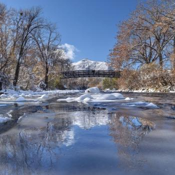 Clear Creek and bridge in winter