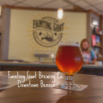 Fainting Goat Brewing Co. banner ad promoting the brewery as a great place to visit in Benson, NC.