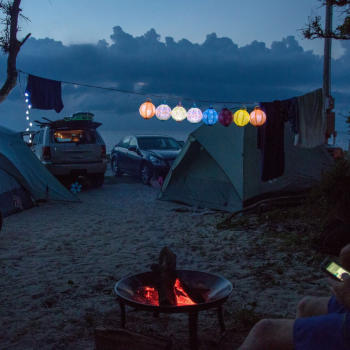 Campfire on the beach on the Outer Banks