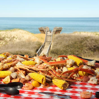Crawfish boil on a beach on the Outer Banks