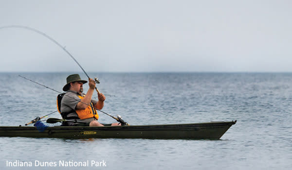 Man Kayak Fishing at the Indiana Dunes