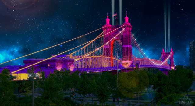 The Roebling Suspension bridge colored with Blink concept art