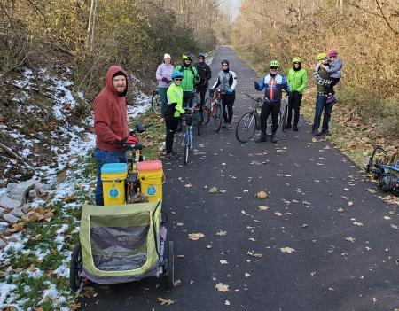 Don't let winter stop you from enjoying bike rides along the Vandalia Trail in Plainfield! (Photo courtesy of Vandalia Trail Facebook page)
