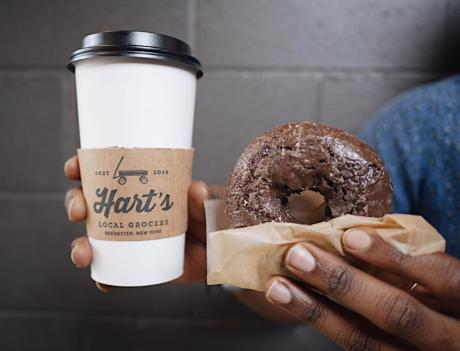Coffee and Donut from Harts Local Grocers