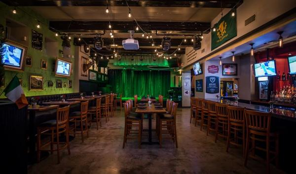 Stout Pub in Providence decorated for St. Paddy's Day