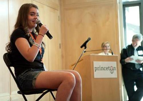 A young woman reciting pi for the pi recitation contest