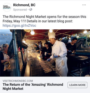 Richmond Night Market Sponsored Ad