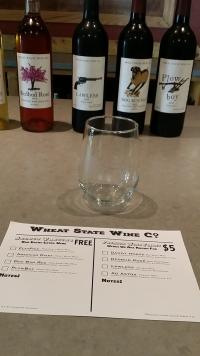 Wine Tasting sheet and glass at Wheat State Wine Co in Winfield, KS