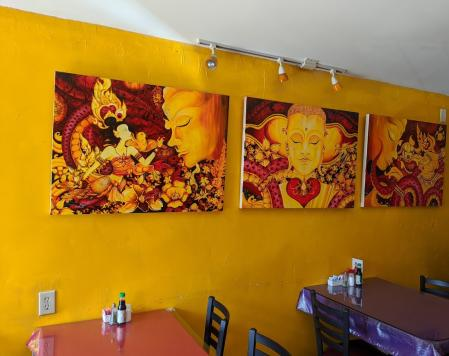 art on the walls at siam orchid restaurant in bellevue kentucky