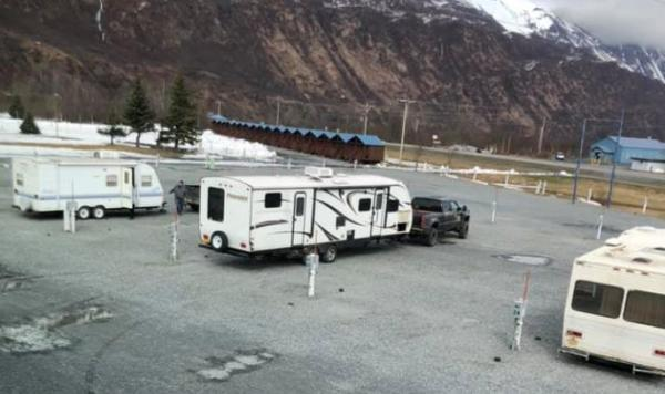 RV campers spaced apart in an RV Park