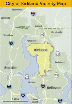Kirkland Getting Here Map