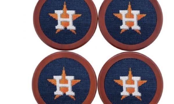 Houston Astros Needlepoint Coaster Set