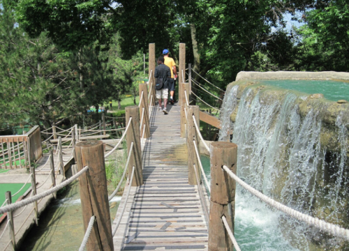 Rope Bridge Crossing Water At Your Adventure Golf In Dayton, Ohio