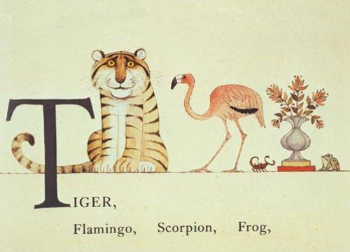 Tiger, Flamingo, Scorpion, Frog Book page from Cotsen Children's Library