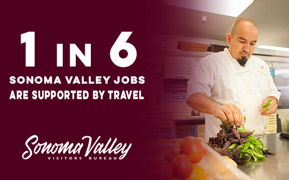 A chef working in a kitchen. One in six jobs in Sonoma Valley are supported by tourism.