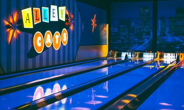 Alley Cats Bowling Center Interior at Night