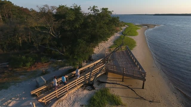 Carolina Beach State Park boardwalk and ocean view