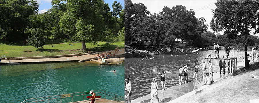 Barton Springs Pool then and now austin texas
