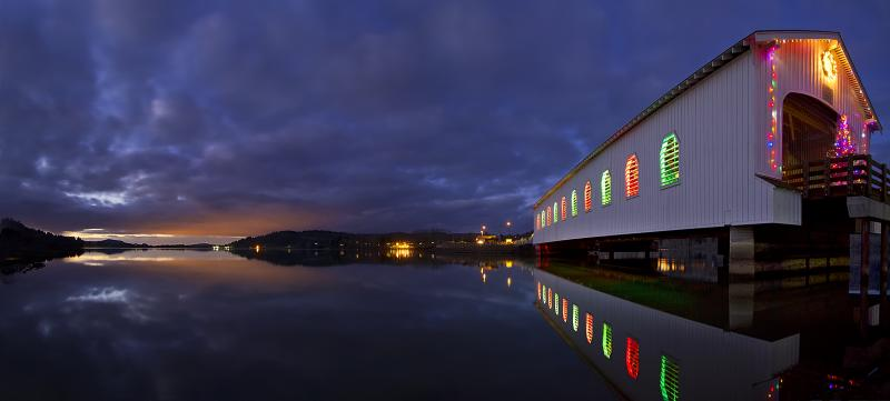 Lowell Covered Bridge during Christmas by David Putzier
