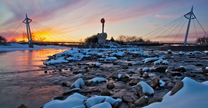 Keeper of the Plains Winter Sunset Wichita