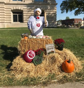 All sorts of creative scarecrows surround the Hendricks County Courthouse Square in Danville, such as this one by Red's Donuts.