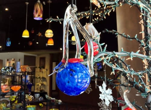 A glass-blown ornament for sale in Columbia SC