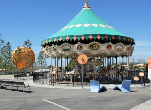 the carousel with helium balloon in the background at Orange County Great Park, picture