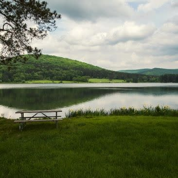 Red House Lake- Allegany State Park- Looking East, sunrise believed to be vicinity of left hill.