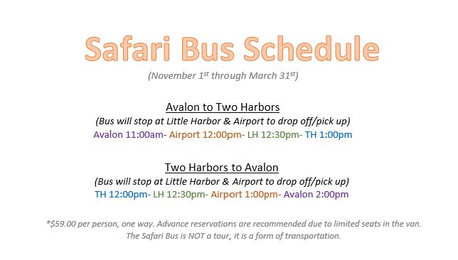 Safari Bus Fall/Winter Schedule