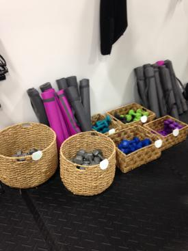 Various exercise equipment utilized during group fitness classes at Fleece Fitness!