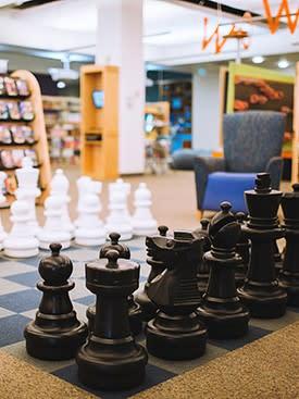 Giant chess set in Laramie County Library children's floor