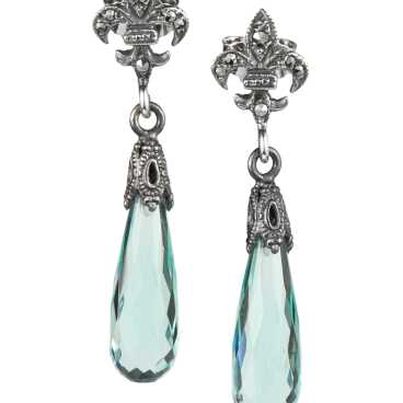 Sterling Fleur de Lis Earring with Marcasites and Blue Crystal droplets