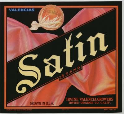 Irvine Valencia Orange Crate Label