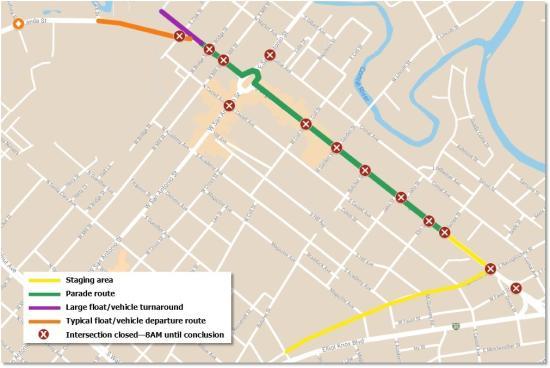 Comal County Fair Parade Route