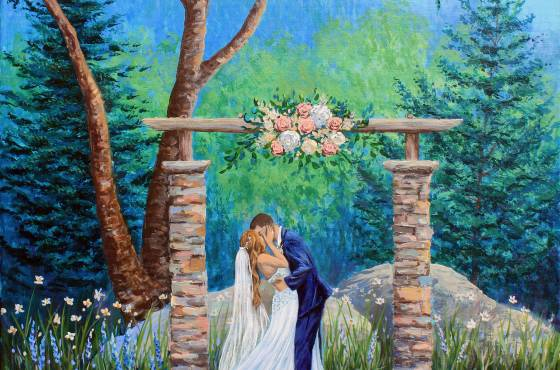Wedding painting by Steamboat Springs Artist Julia Dordoni, rendered by photo.