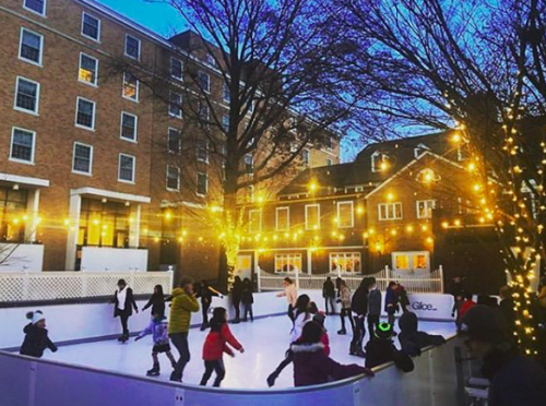 A view from the side of the ice skating in Palmer Square
