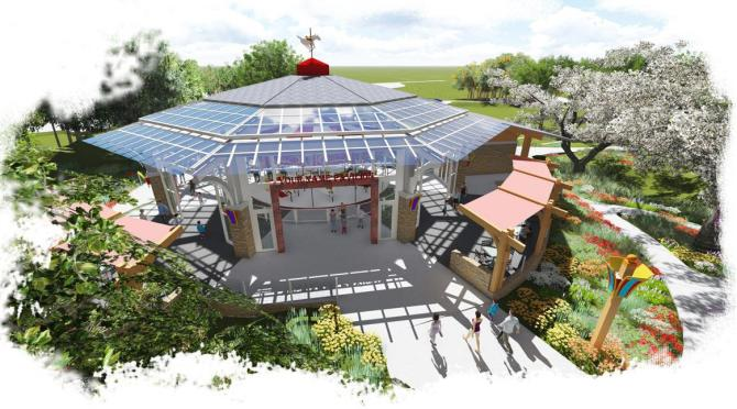 A render of the Carousel Garden Pavilion at Botanica
