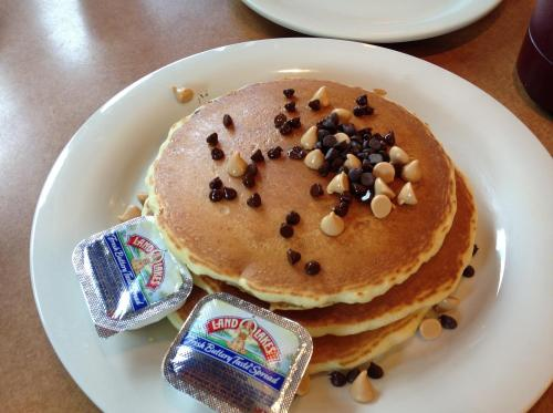 Plated chocolate chip pancakes at Golden Nugget Pancake House in Dayton, OH