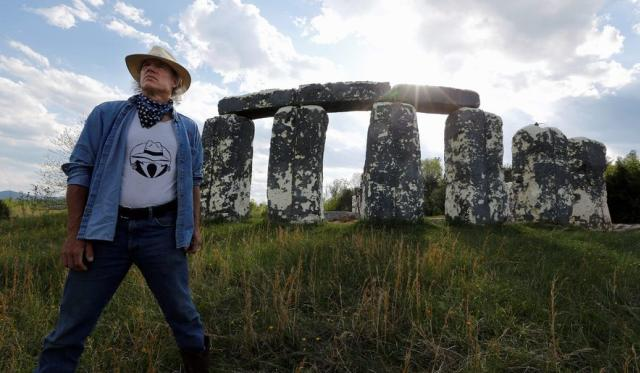 Artist Mark Cline with Foamhenge