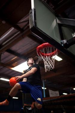 Sky Zone dunking basketball