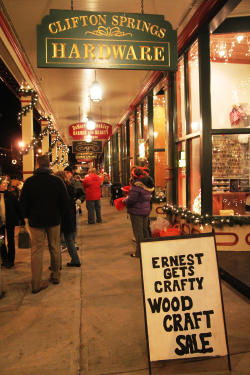 Downtown Clifton Springs lit up during their festival of lights event