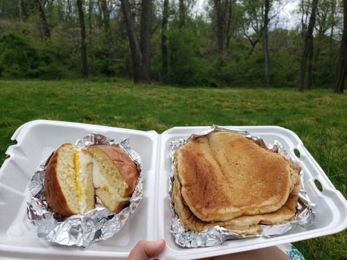 Brioche egg sandwich and cinnamon toast crunch pancakes