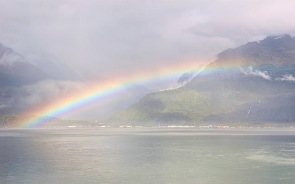a rainbow over the Port of Valdez