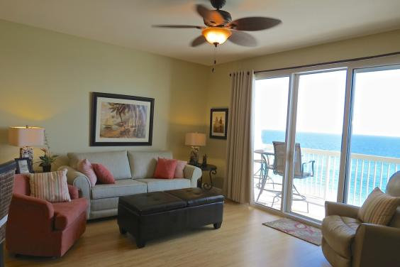 Celadon Beach 806 living room with breathtaking view of the Gulf!