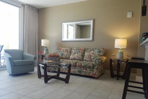 Large living room with sleeper sofa
