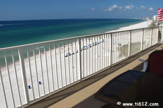 View of the Ocean and Beach looking west from our 802 sq ft wraparound balcony