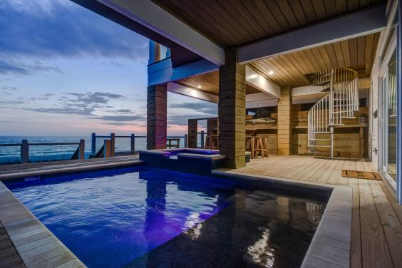 Evening Shot of the Beachfront Private Pool