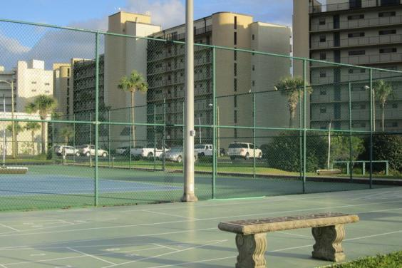 TWO NEWLY SURACED LIGHTED TENNIS COURTS, STEPS FROM YOUR FRONT DOOR.