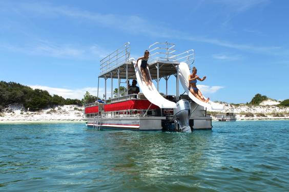 Double Decker Pontoon Boat Rentals with a Slide