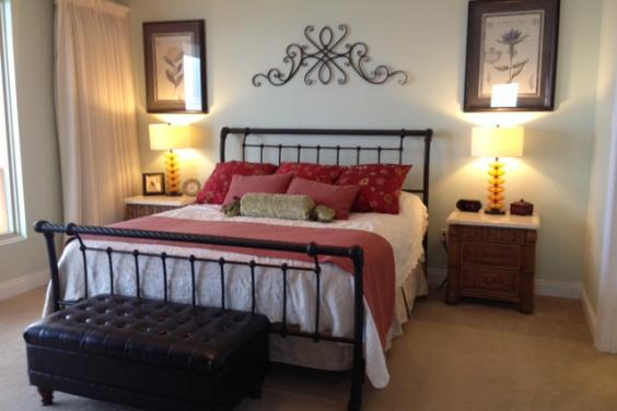 The Master Bedroom features a sleigh bed.